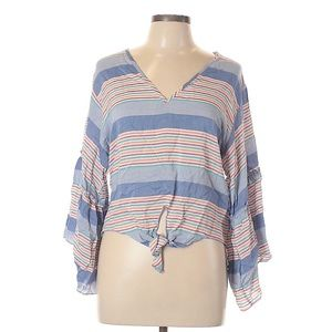 Chambray Striped Tie Front Blouse
